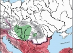 Fot. 1. Kaganat Awarski w Europie środkowej ok. roku 600; wg W. Pohl (1988, mapa 1) przerysowała I. Jordan. a) Cesarstwo Bizantyńskie (bez podbojów Justyniana I [527-568]); b) Cesarstwo Bizantyńskie po podbojach Justyniana I; c) hipotetyczny zasięg Kaganat